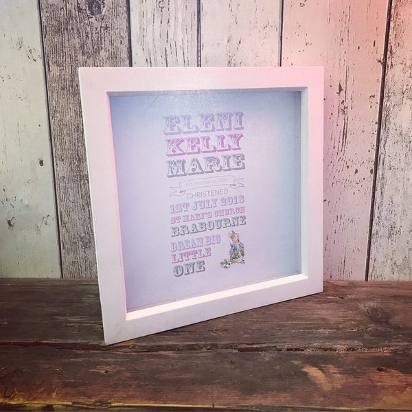 Baby's Christening Day Memory Print Frame