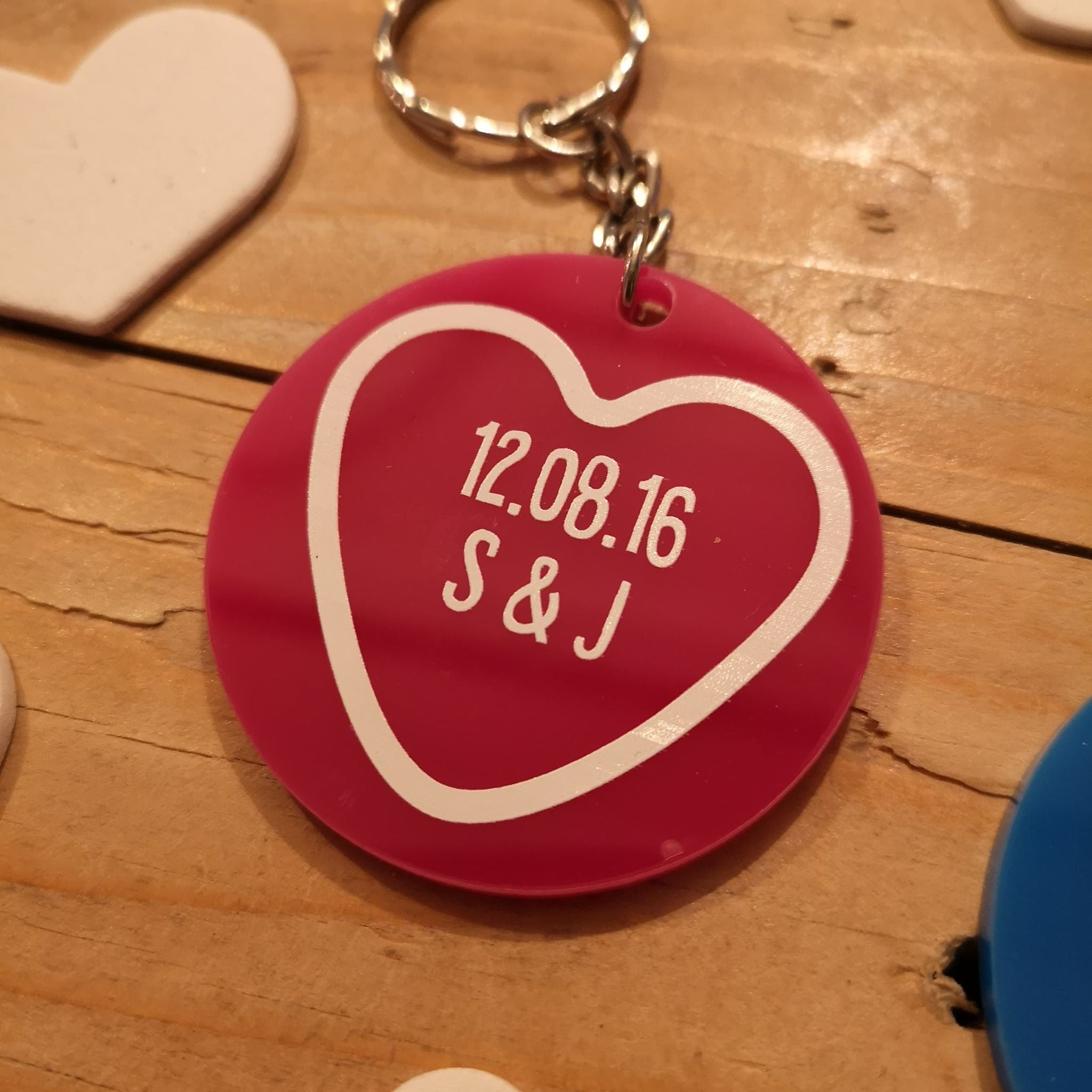 Valentine's Love Heart Sweets Style Quote Keyrings