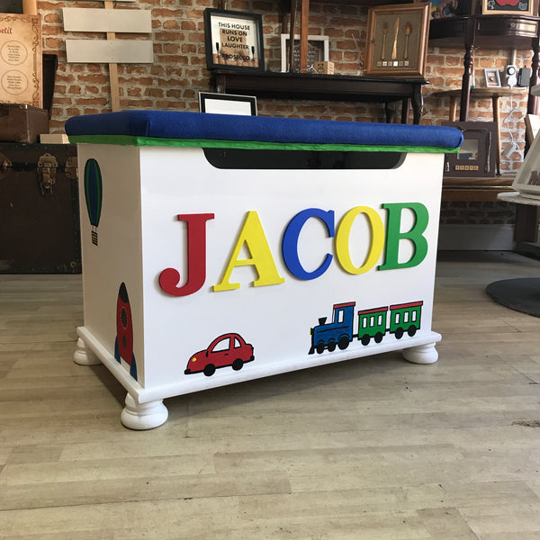 Personalised Handmade Padded Seat Top Toy Box