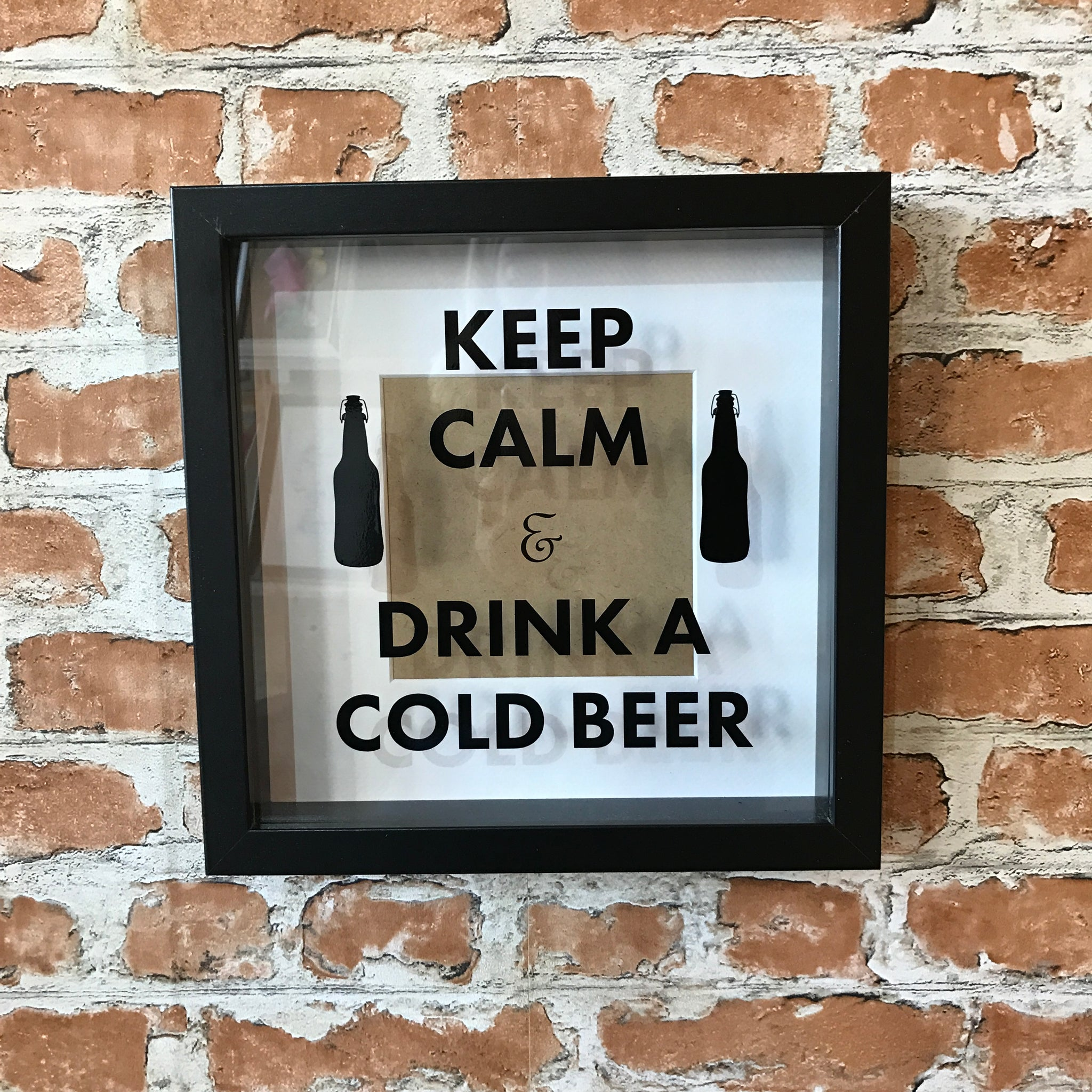 Keep Calm and Drink a Cold Beer Photo Frame - Fathers Day gift