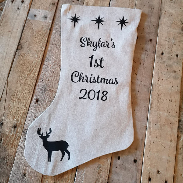 Natural Personalised Christmas Stocking