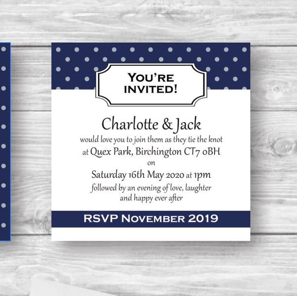 Blue polkadot wedding invitations kent