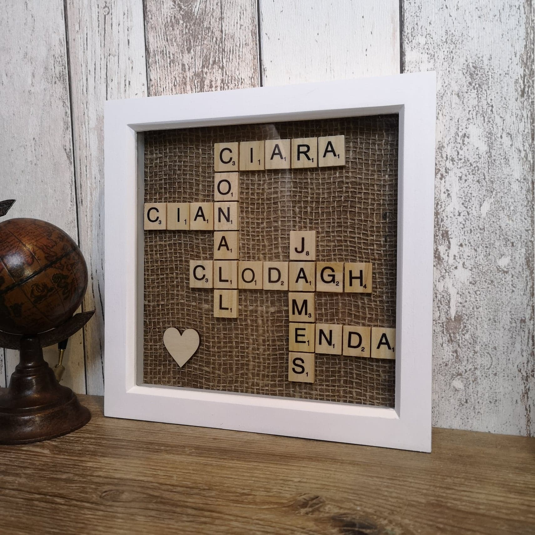 Family Scrabble Name Frame - white or black frame