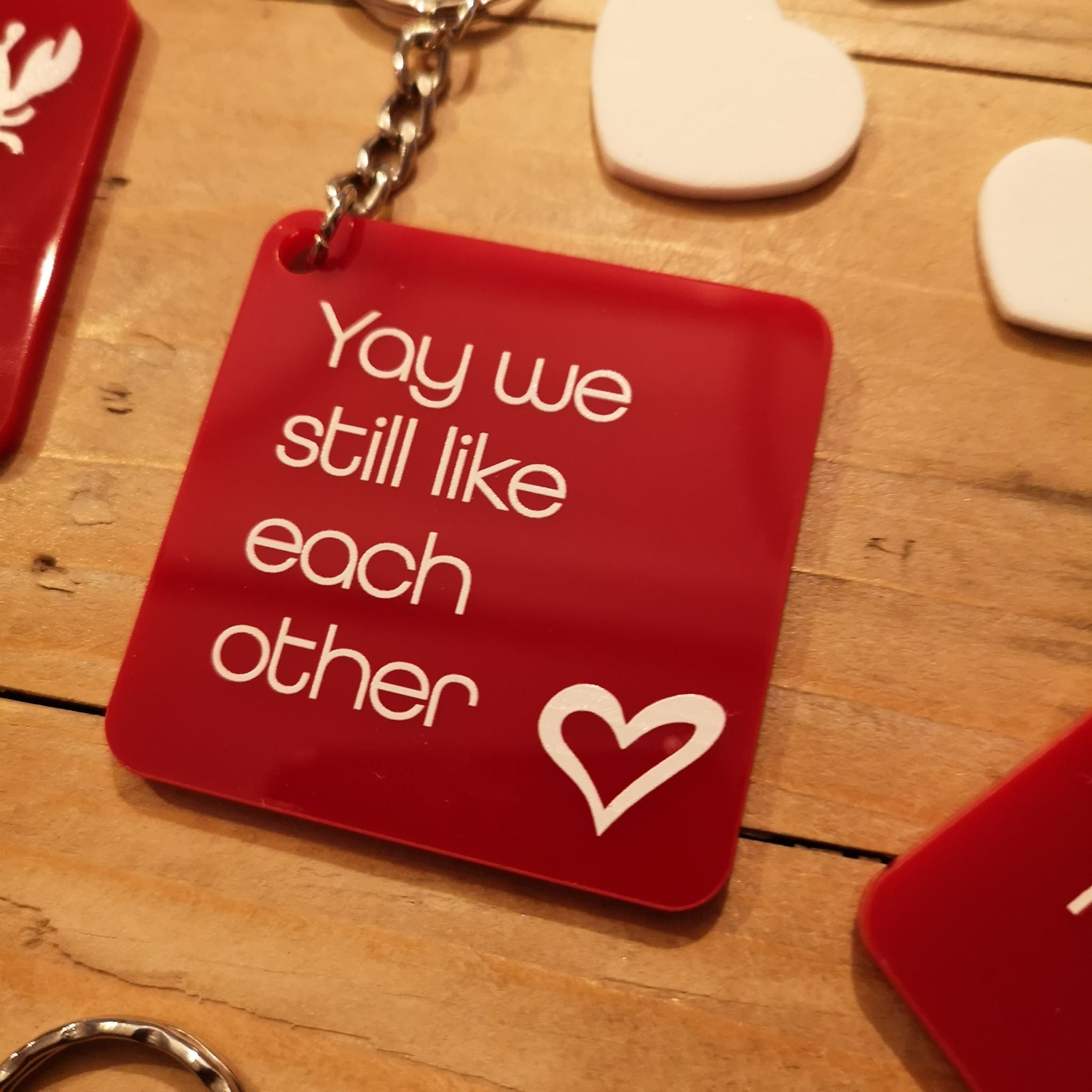 Valentine's Red Acrylic Quote Keyrings