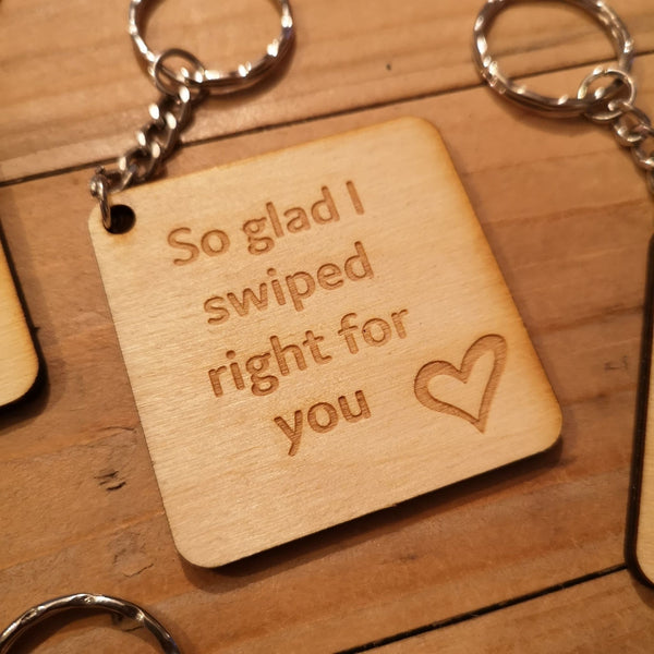 Valentine's Engraved Wooden Quote Keyrings