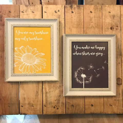 You are my sunshine my only sunshine - 2 Song Prints