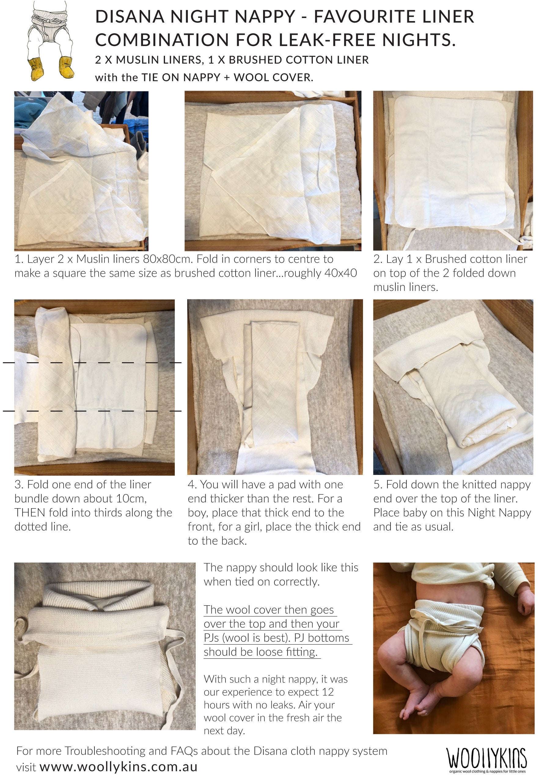 Disana cloth night nappy for leak-free nights by Woollykins