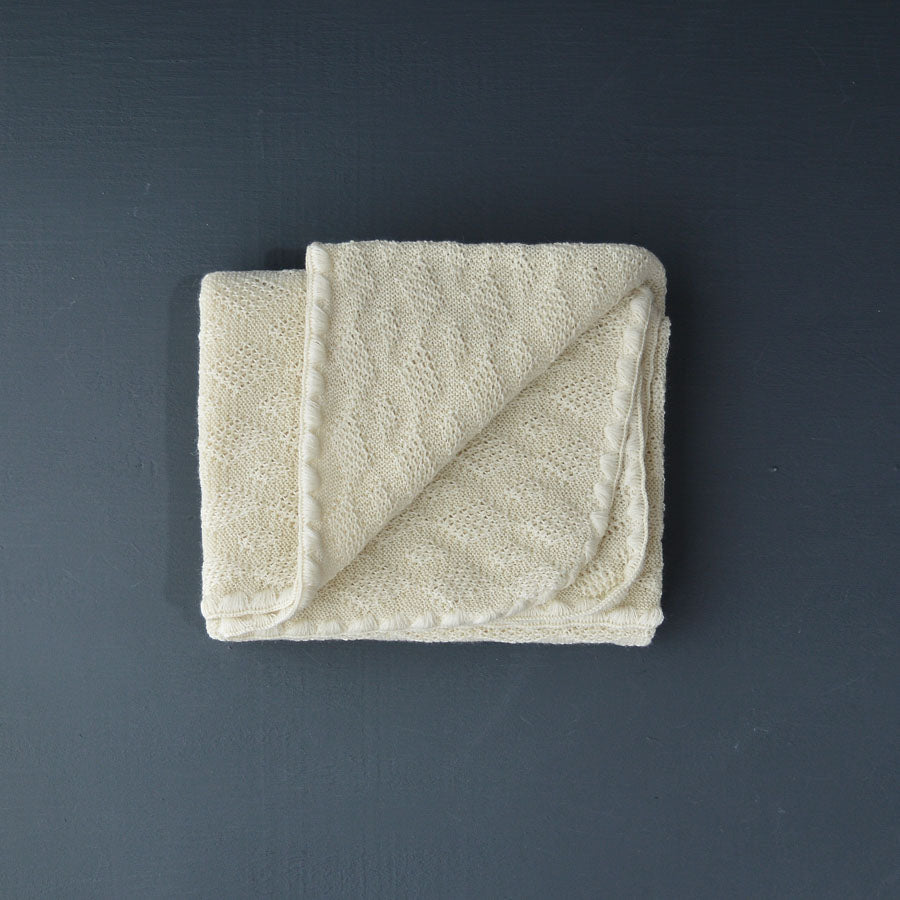 Knitted Baby Blanket in Organic Merino Wool (Natural)