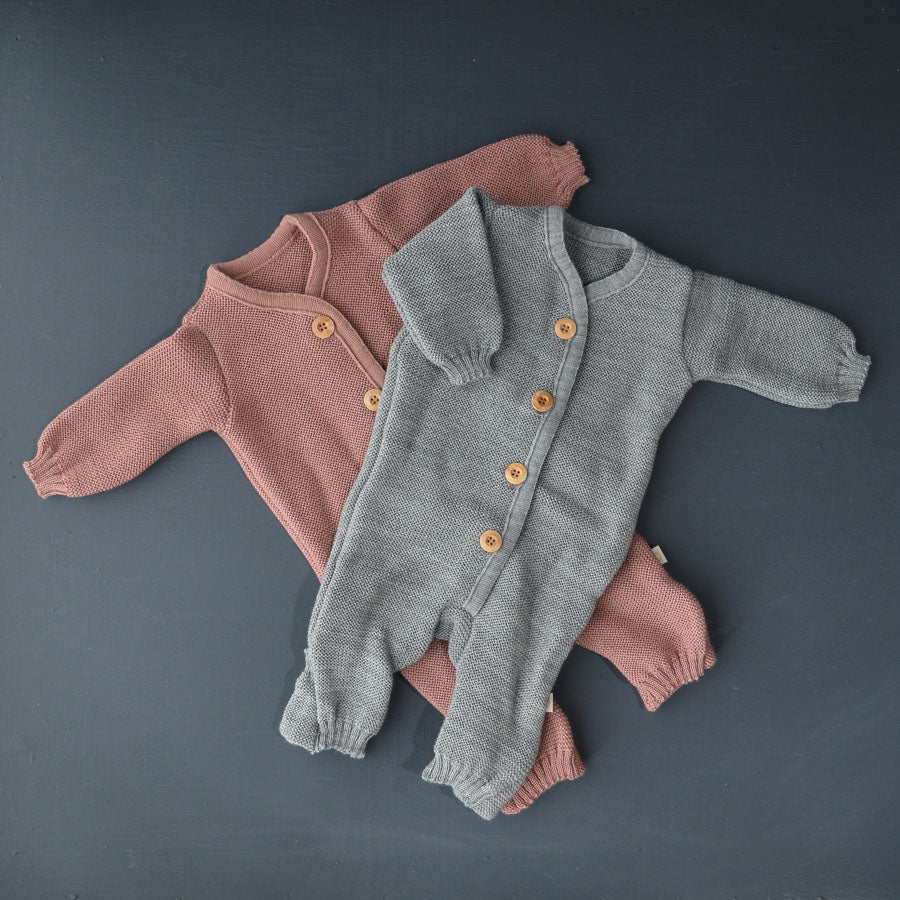 Knitted Overalls in Organic Merino Wool (3-6m) Rose *Last One!