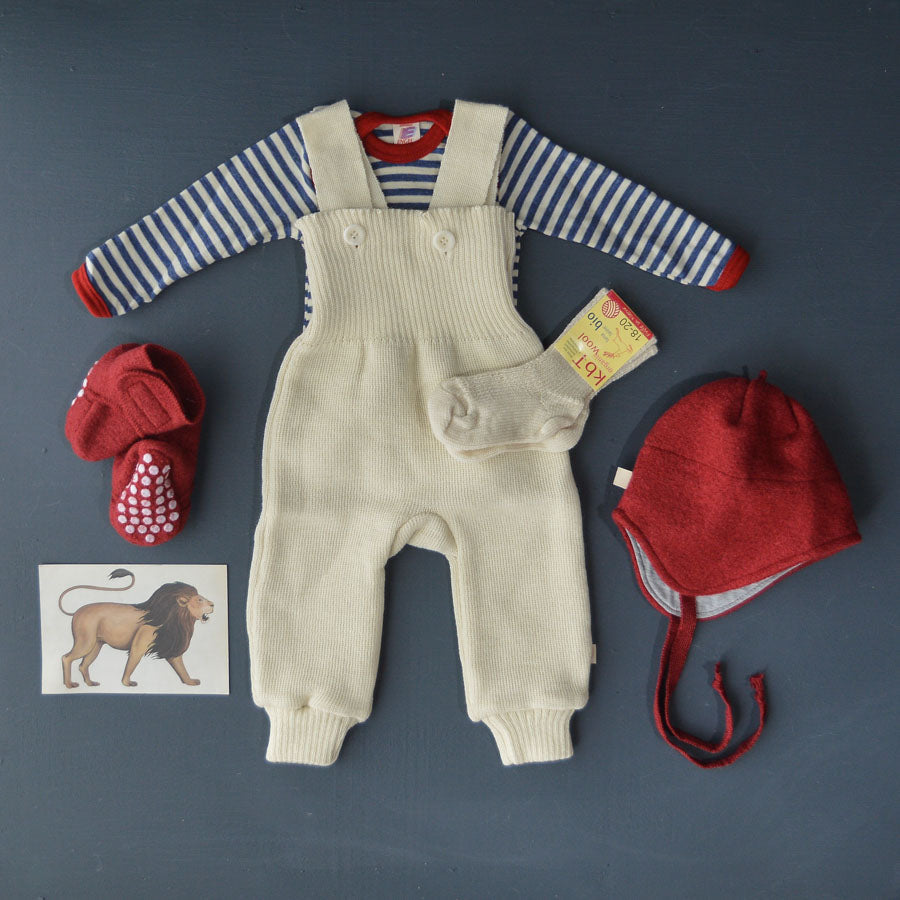 Baby Bodysuit Longsleeve 100% Wool - Stripes (0-3yrs)