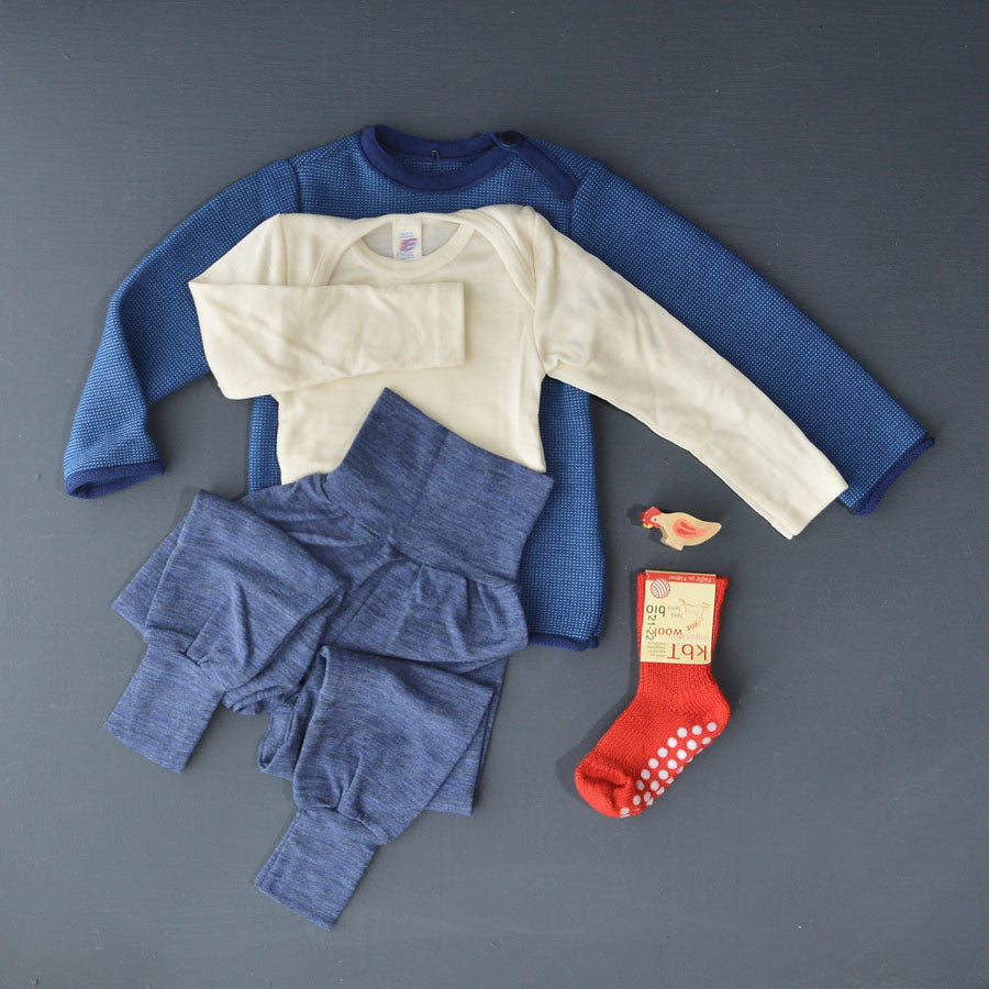 Baby Bodysuit Longsleeve Wool/Silk Natural or Grey (0-3yrs)