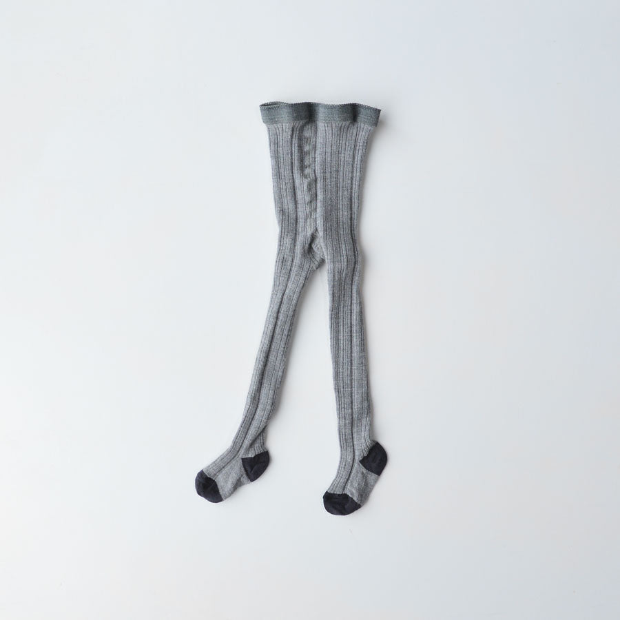 Merino Wool Rib Tights - Grey (6-9m only) *Last ones