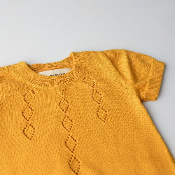 As We Grow, Iceland, Diamond Bodysuit in Organic Cotton - Saffron - Woollykins, Australia