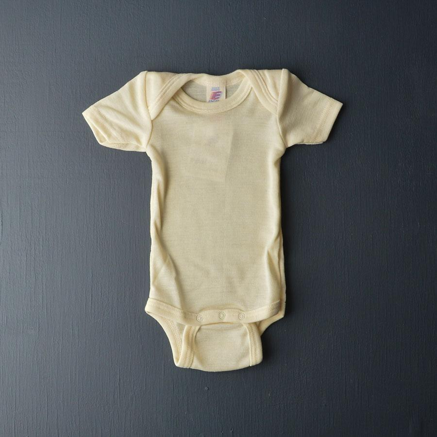 Engel, Baby Body Short Sleeve in Merino/Silk Natural - Woollykins, Australia