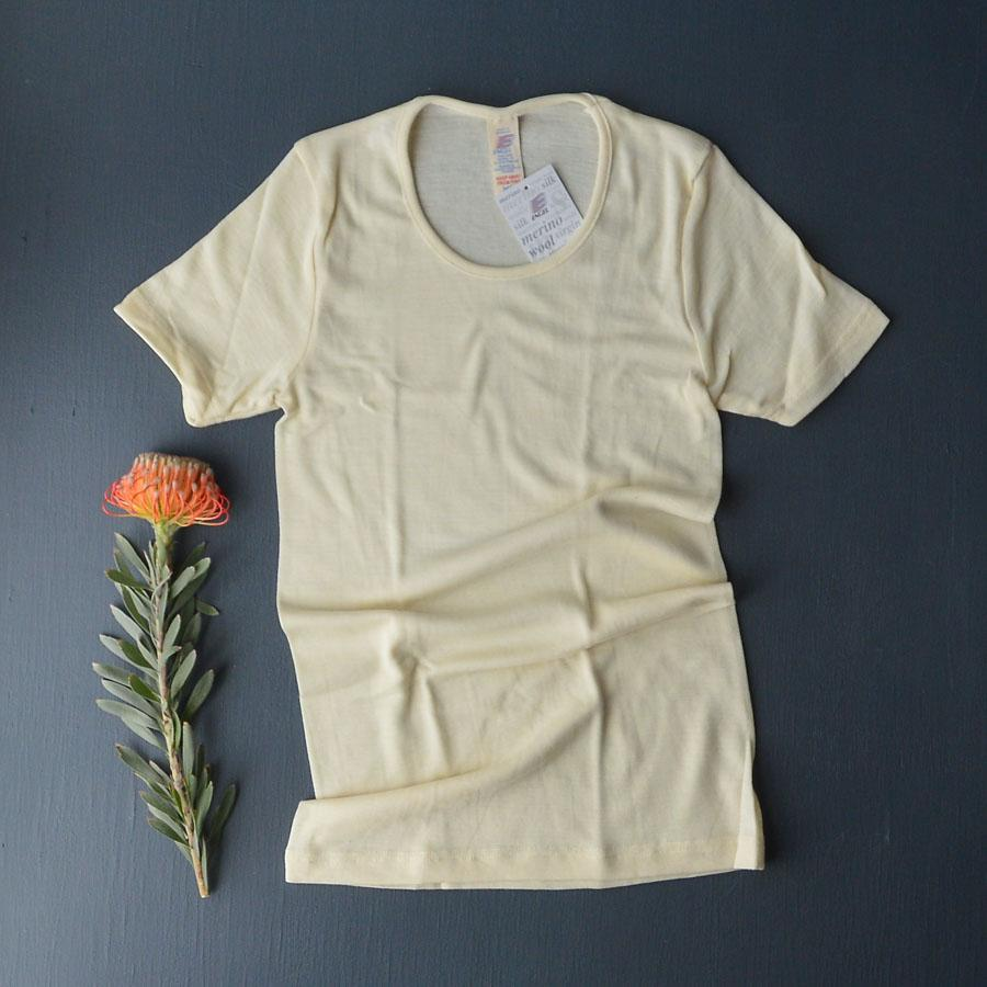 Engel, Women's Merino/Silk Short Sleeve Top (Natural) - Woollykins, Australia