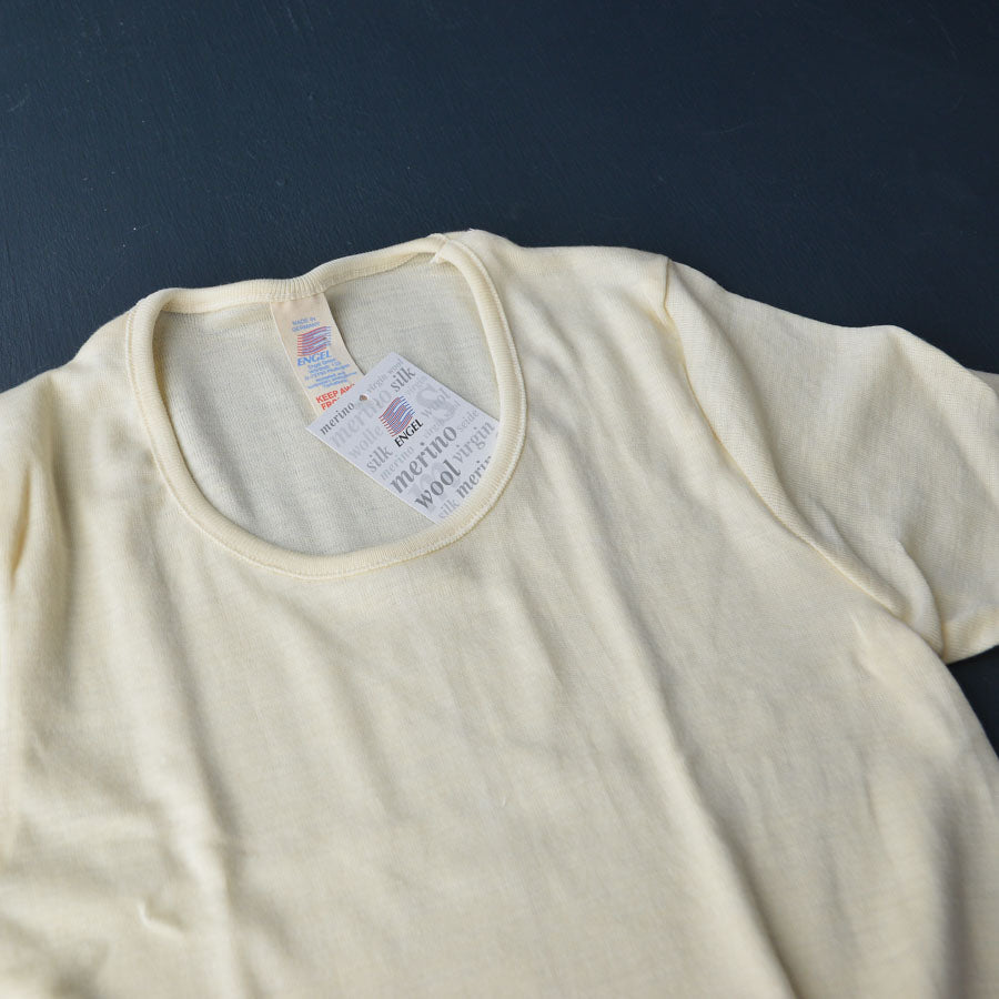 Women's Merino/Silk Short Sleeve Top - Natural