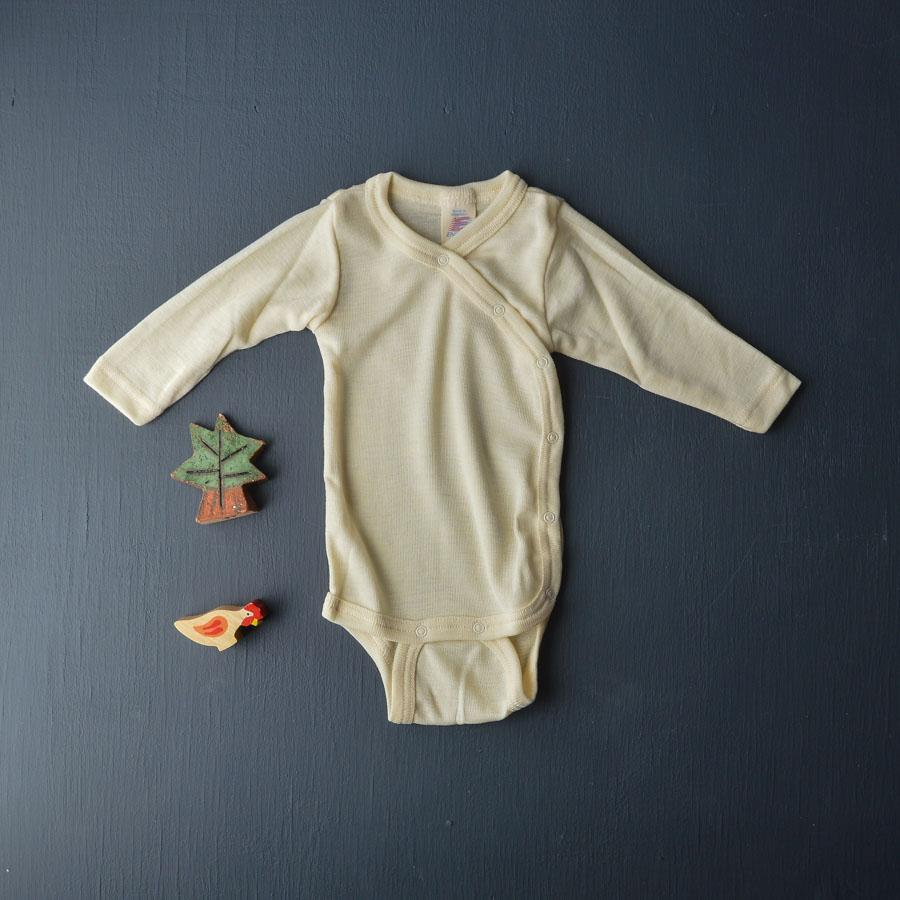 Engel, Baby Bodysuit in Wool/Silk - Kimono style Natural - Wollykins, Australia