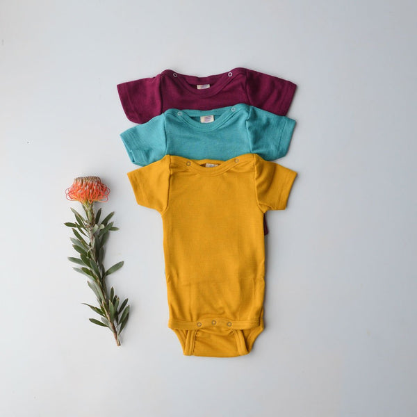 Baby Body Short Sleeve in Merino/Silk - Orchid Plum (0-3m only) *Last One!