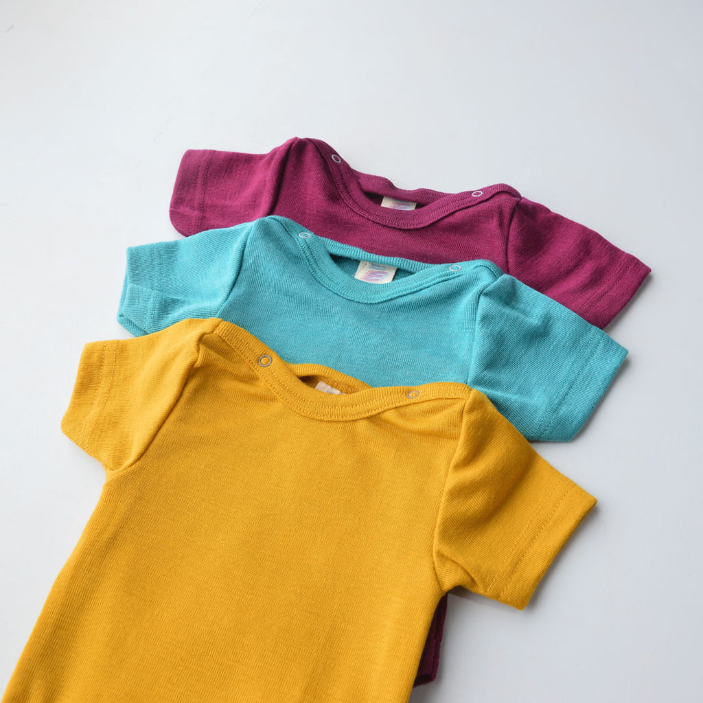 Baby Body Short Sleeve in Merino/Silk - Solid Colours (0-3y)