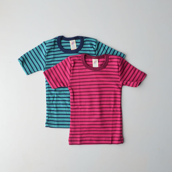 Child's Merino/Silk T-Shirt - Stripes (7-10y only)