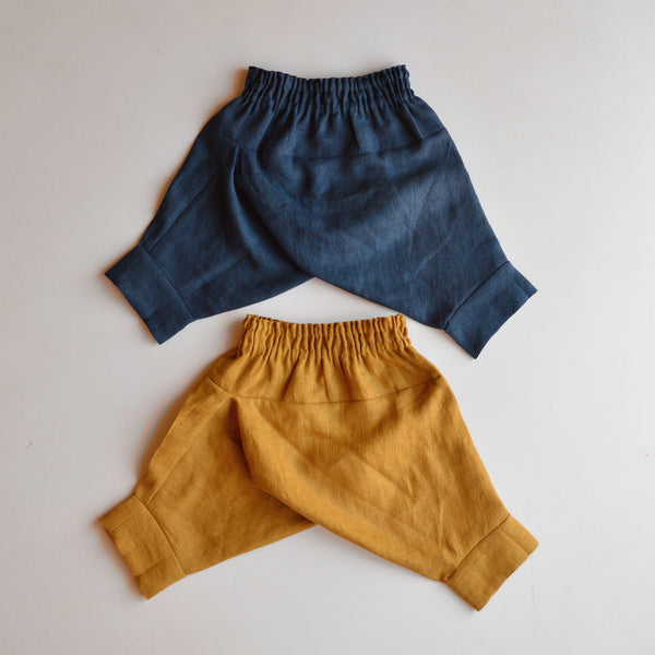 Linen Pantaloons - Mustard and Midnight (6m-4y)