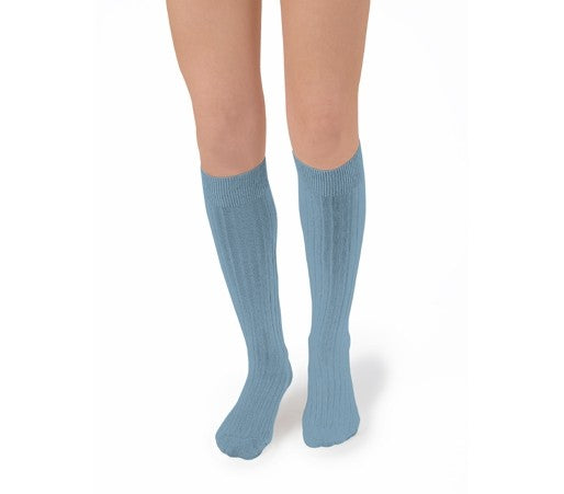 Kneehigh Ribbed Socks in Egyptian Cotton (8y-Adult 32-42)