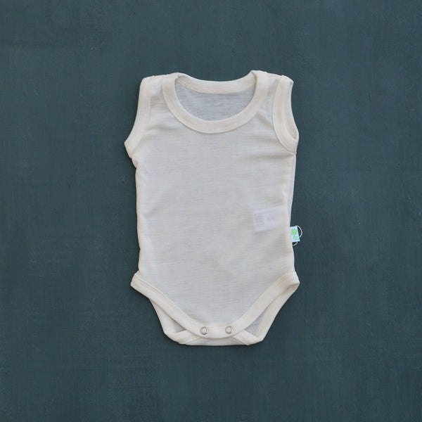 Merino Silk Sleeveless Baby Bodysuit (0-2y)