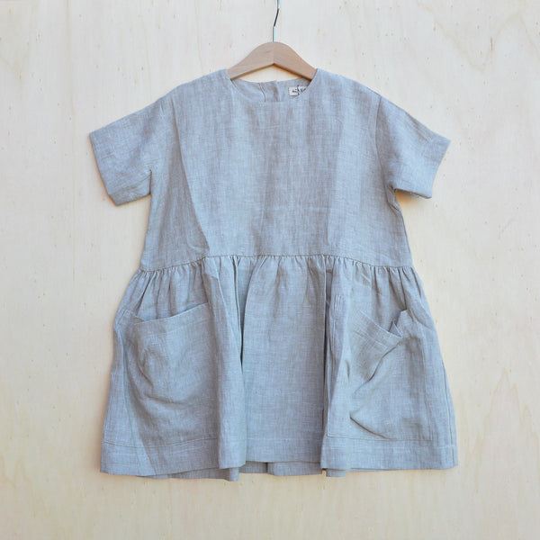Pocket Dress in 100% Linen (18m-5y) - Natural Beige