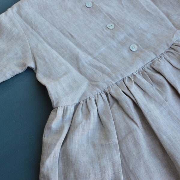 Pocket Dress in 100% Linen - Natural Linen (3-5y)