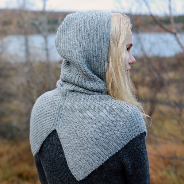 Adults Alpaca Rib Hood - Salt & Pepper
