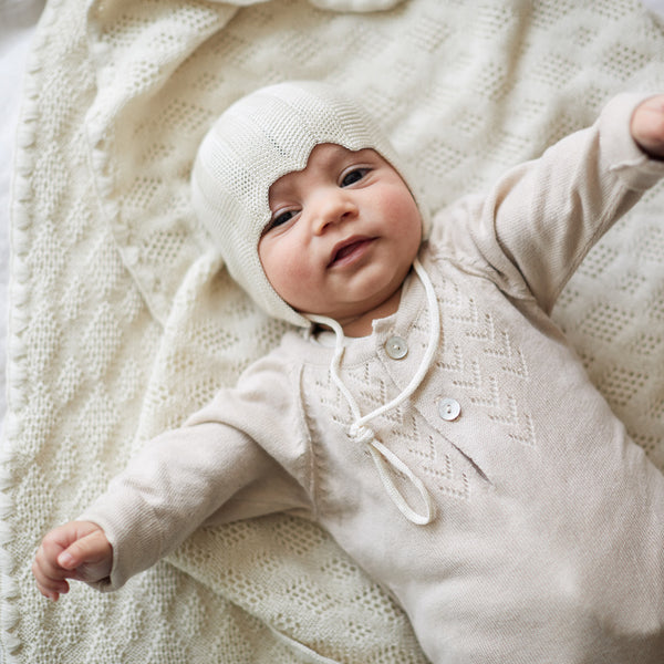 Lace Front Overall in Alpaca/Cotton - Shell (18m-3y only) *Last ones