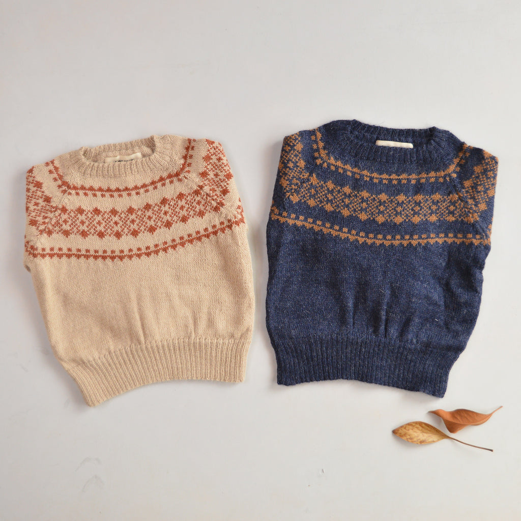 Yoke Sweater in 100% Alpaca - Bisque (18m-8y)