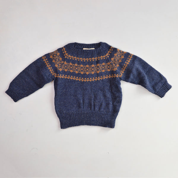 Yoke Sweater in 100% Alpaca - Navy (18m-8y)