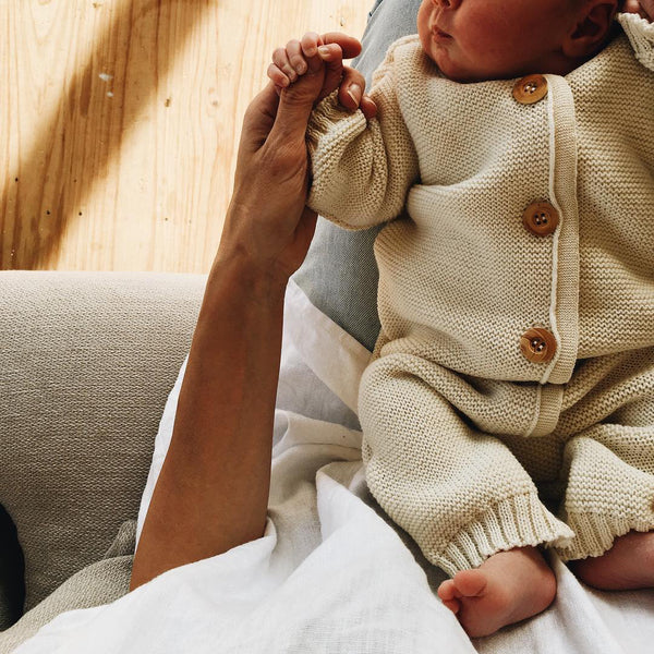 Knitted Overalls in Organic Merino Wool - Natural (0-6m)