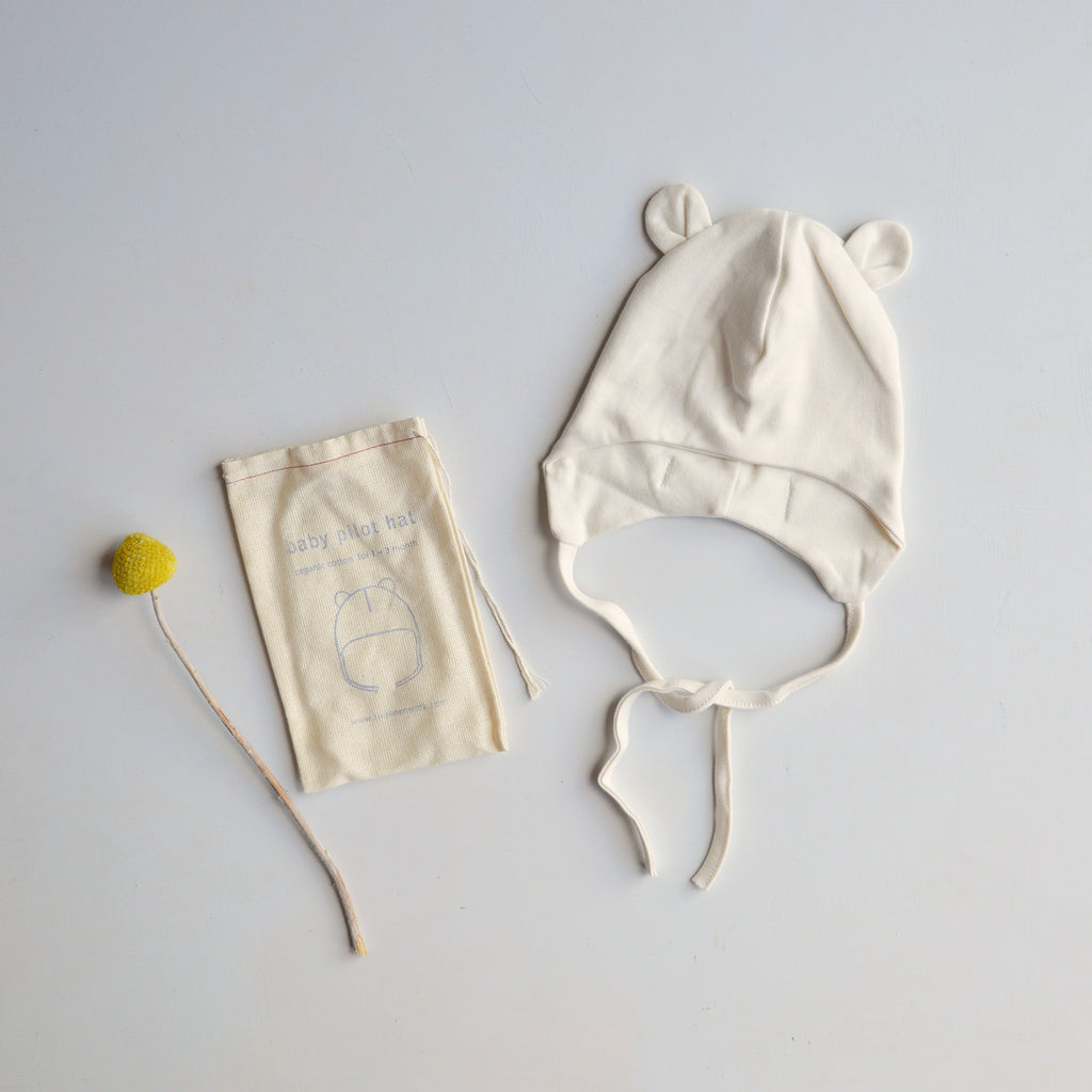 Baby Pilot Hat with Ears in Organic Cotton (0-3m)