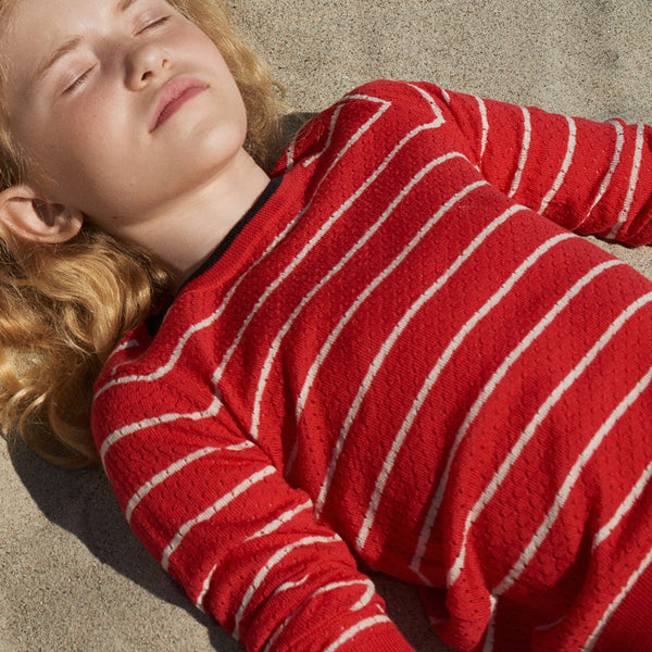 FUB Baby Pointelle Jumper - fine knit organic merino jumper in a pointelle knit with fine stripe and contrasting neckline and pearl buttons at the shoulder - Woollykins, Australia