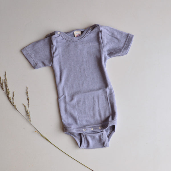 Baby Body Short Sleeve in Merino/Silk - Lavender (6-12m only)