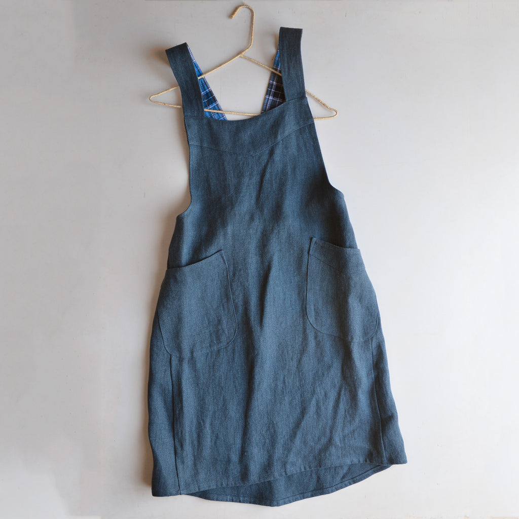 Hard Yakka Hemp Apron Pinafore - Indigo (S-XL)
