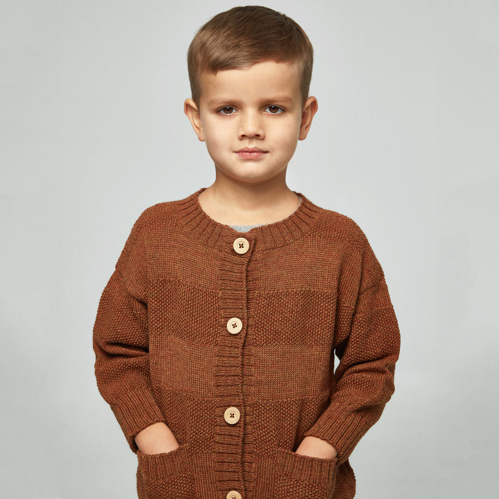 Everyday Cardigan in alpaca/merino - Gingerbread (18m-5y only)