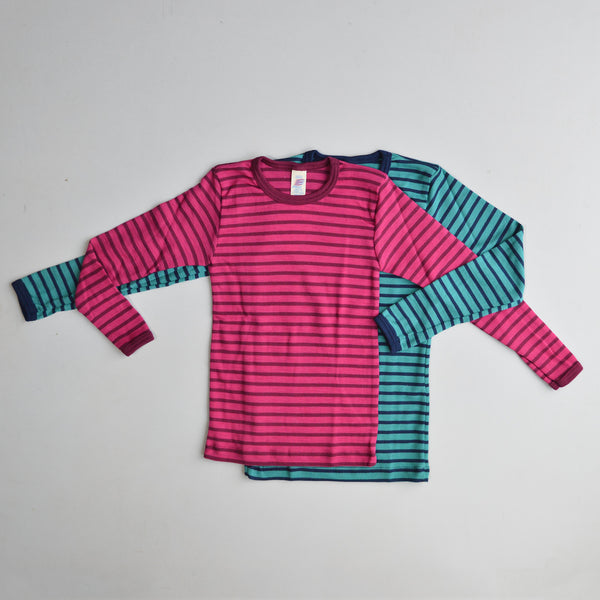 Child's Longsleeve Top in Wool/Silk - Stripes (1-12y)