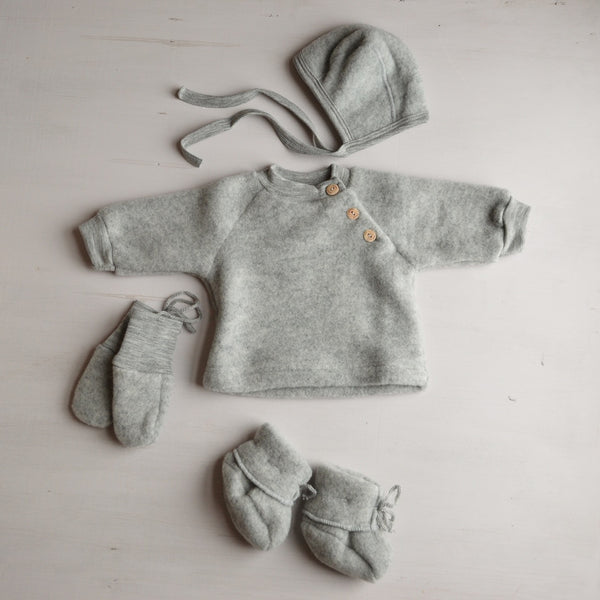 Baby Wool Fleece Raglan Jumper with wooden buttons (birth-12m) - Grey Melange
