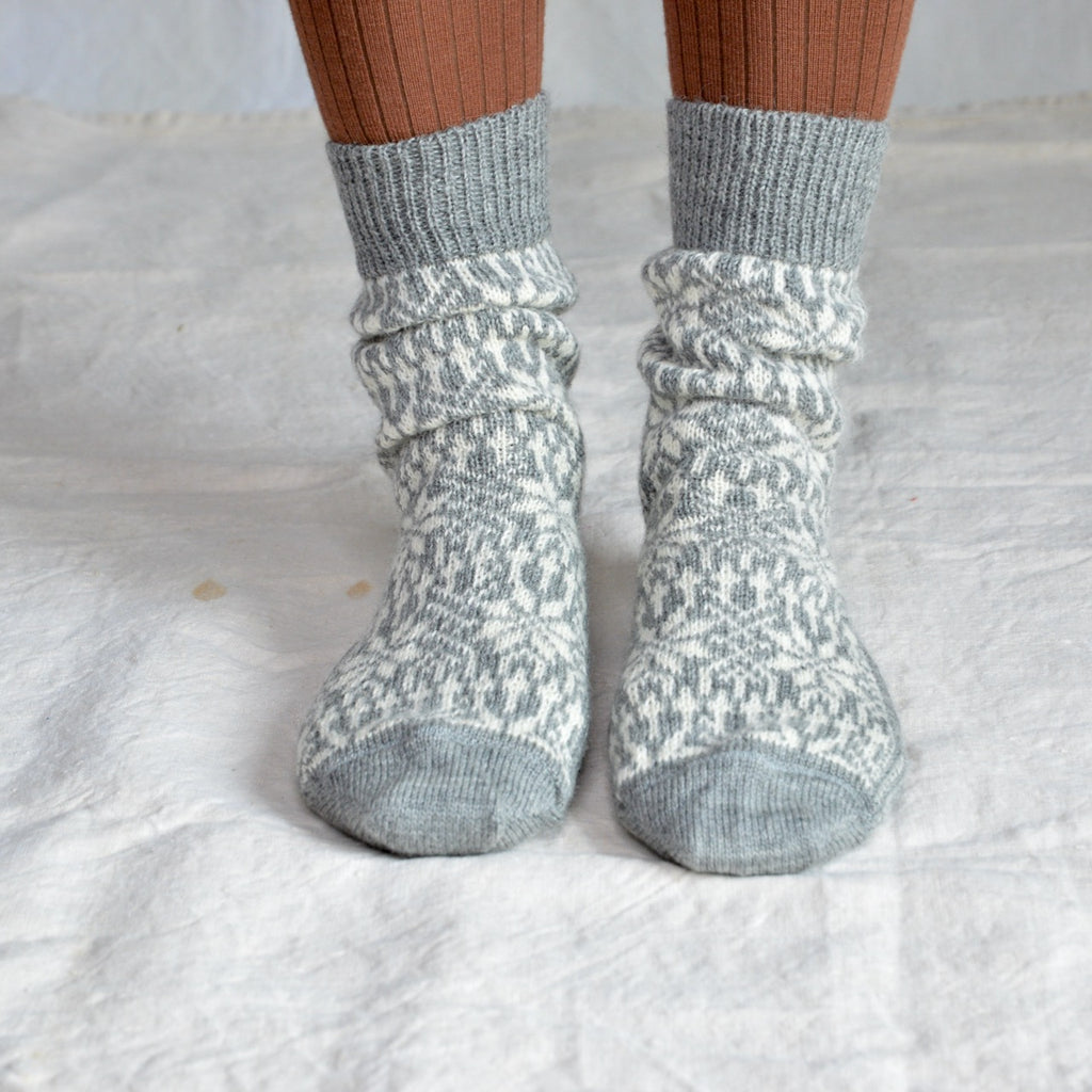 Scandi Fairisle Socks (adults) 100% wool (36-43)