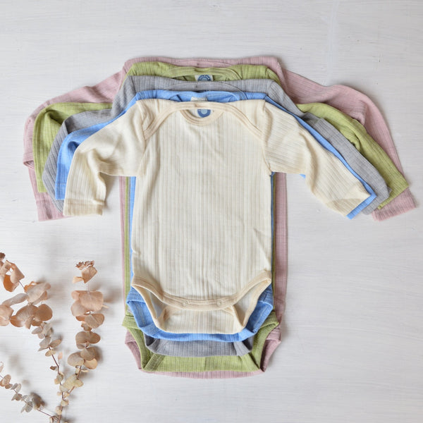 Baby Body Longsleeve Cotton/Wool/Silk (12-24m Blue) *Last Ones