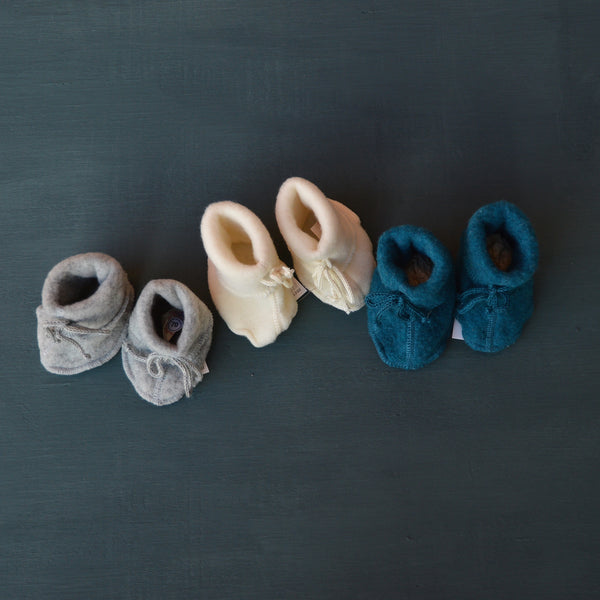 Fleecy Wool Booties by Engel (0-12m) in Natural, Grey or Teal
