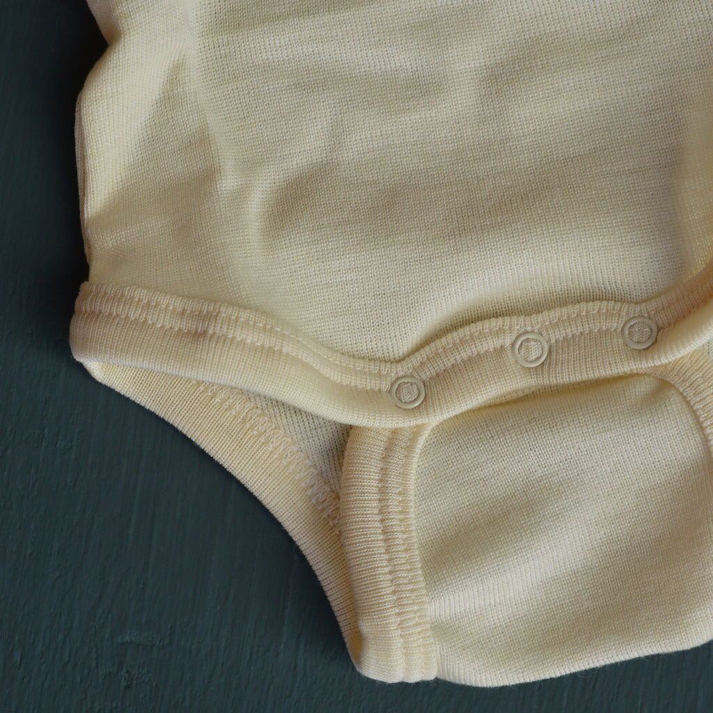 Baby Bodysuit Longsleeve Wool/Silk - Natural (0-3yrs)