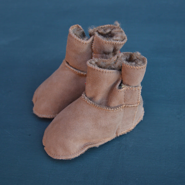 Lambskin Baby Boots - Naturally Tanned Leather (0-2y)