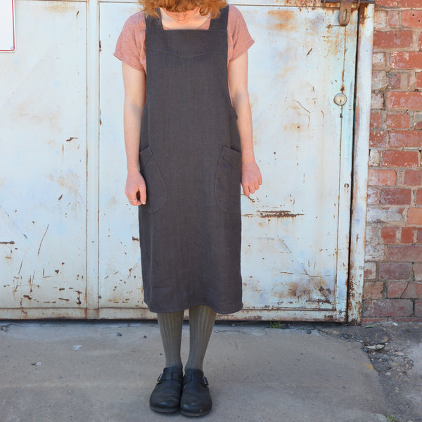UMIFORM Mamiko Apron Pinafore - Dusky Grey Linen - Woollykins, Made in Australia