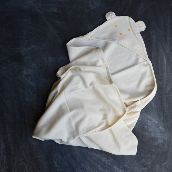 Hooded Swaddle Blanket in Organic Cotton