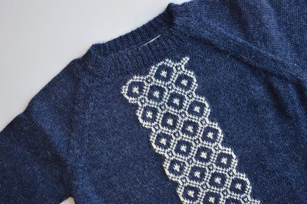 Geometric Sweater in 100% Alpaca - Navy (18m-8y)