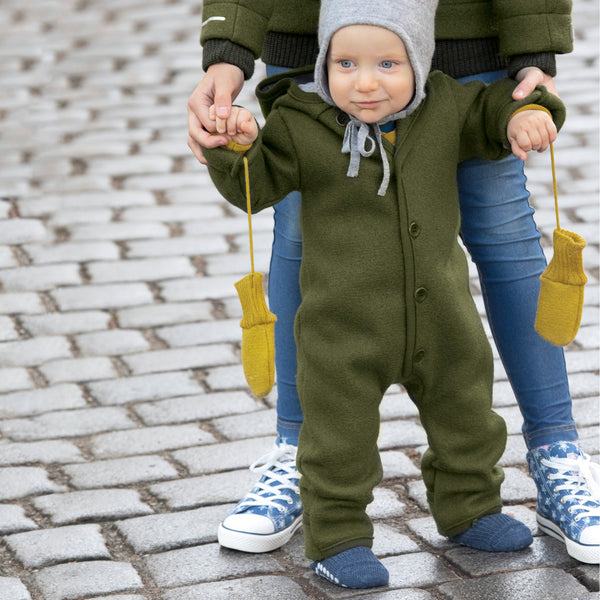 Boiled Wool Overalls with Hood (0-3y)